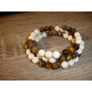 Tigers eye and frosted fossil wrap cuff